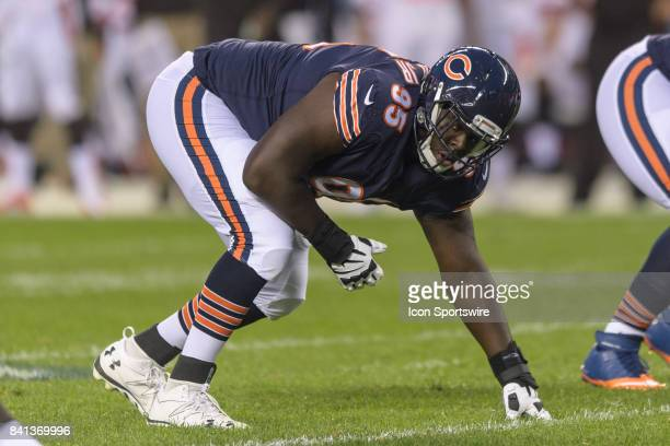 Chicago Bears defensive lineman Jaye Howard stands in a three point stance in the 1st quarter during an NFL preseason football game between the...