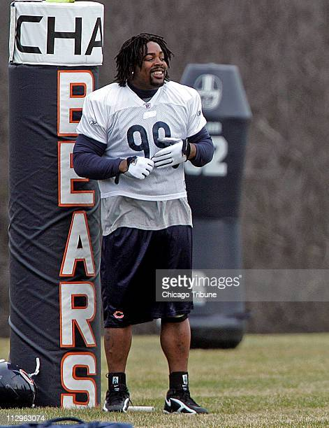 Chicago Bears defensive tackle Tank Johnson returns to team practice in Lake Forest Illinois December 27 following his onegame suspension