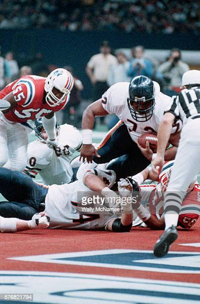 Chicago Bears defensive tackle William Refrigerator Perry scores a touchdown against the New England Patriots during the Super Bowl The Bears...