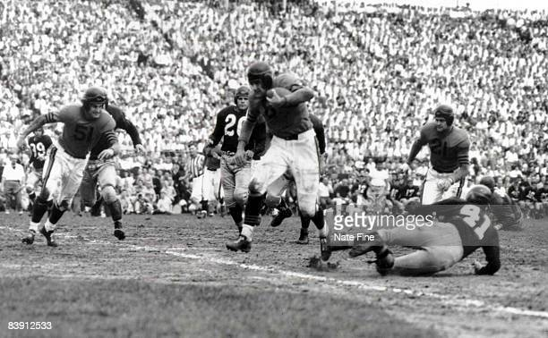 Chicago Bears end Ken Kavanaugh looks to set a block for running back Hugh Gallarneau as he runs upfield in a 35 to 21 win over the Washington...