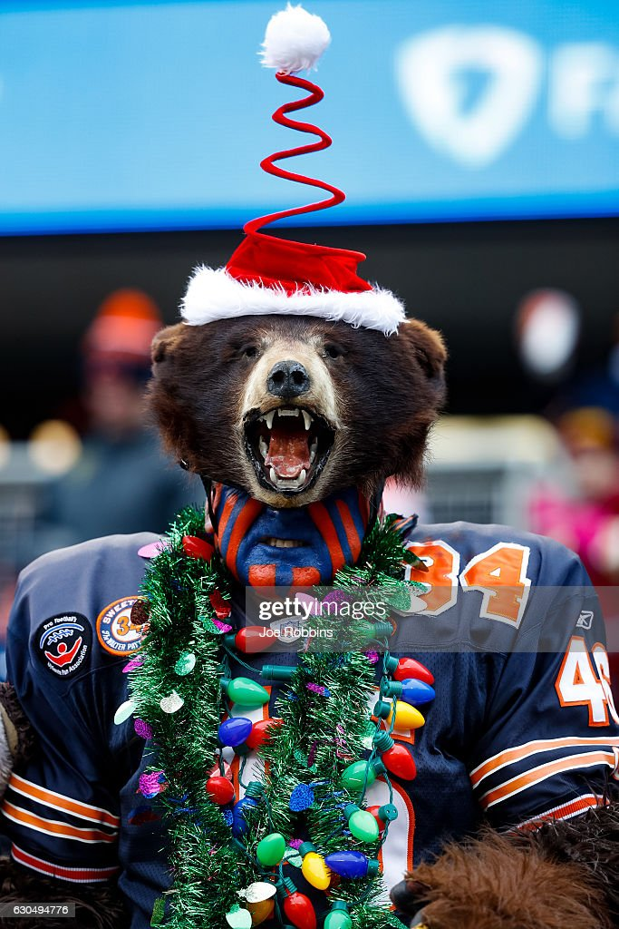 A Chicago Bears fan dresses for the holidays during the game between the Chicago Bears and the Washington Redskins at Soldier Field on December 24, 2016 in Chicago, Illinois.