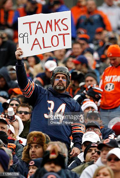 A Chicago Bears fan shows his support for Bears defensive tackle Tank Johnson during the game against the Tampa Bay Buccaneers The Bears beat the...