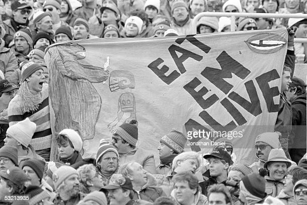 Chicago Bears fans hold up a sign during the 1985 NFC Championship game against the Los Angeles Rams at Soldier Field on January 12 1986 in Chicago...