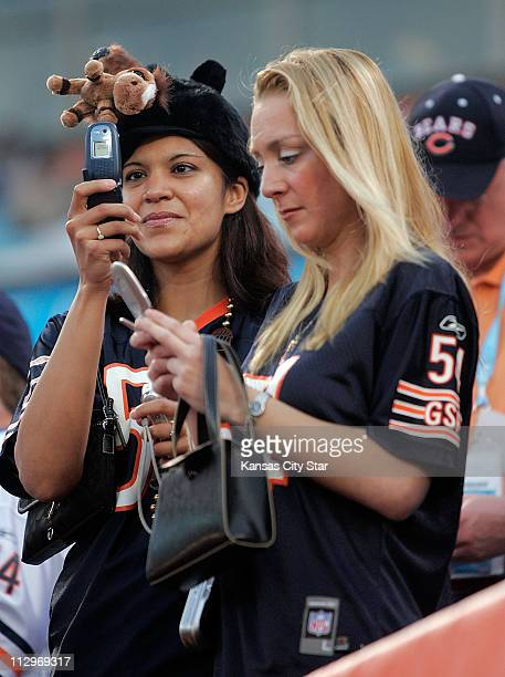 Chicago Bears' fans take in the scene at Dolphins' Stadium at Super Bowl XLI in Miami Florida on Sunday February 4 2007