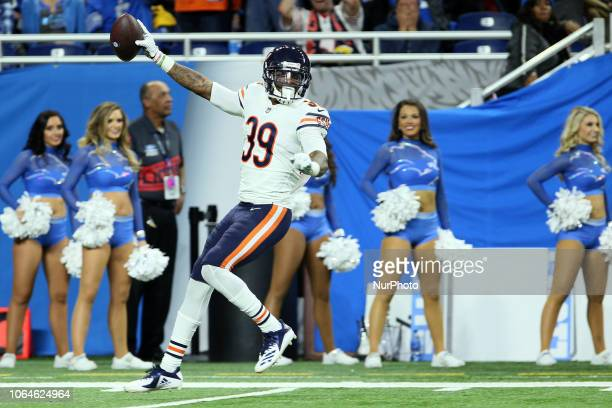Chicago Bears free safety Eddie Jackson celebrates making a touchdown during the second half of an NFL football game against the Detroit Lions on...