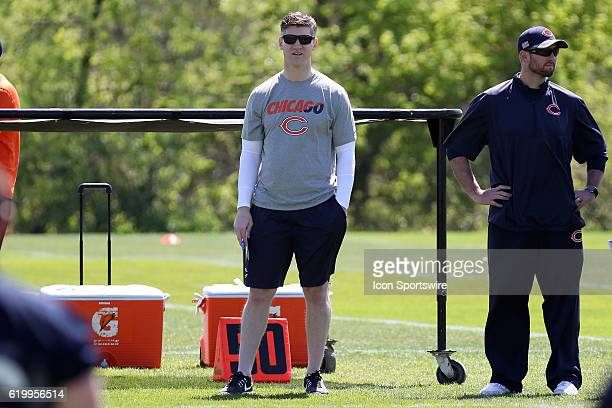 Chicago Bears general manager Ryan Pace in action during the Chicago Bears Rookie minicamp at Hallas Hall in Lake Forest IL
