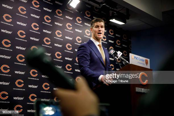 Chicago Bears general manager Ryan Pace speaks about the decision to fire John Fox Monday Jan 1 2018 during a press conference at Halas Hall in Lake...