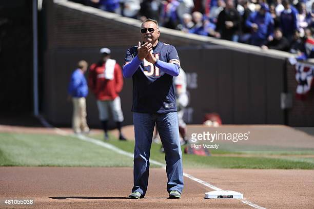Chicago Bears great Dick Butkus looks on during pregame ceremonies prior to the game between the Chicago Cubs and Arizona Diamondbacks at Wrigley...