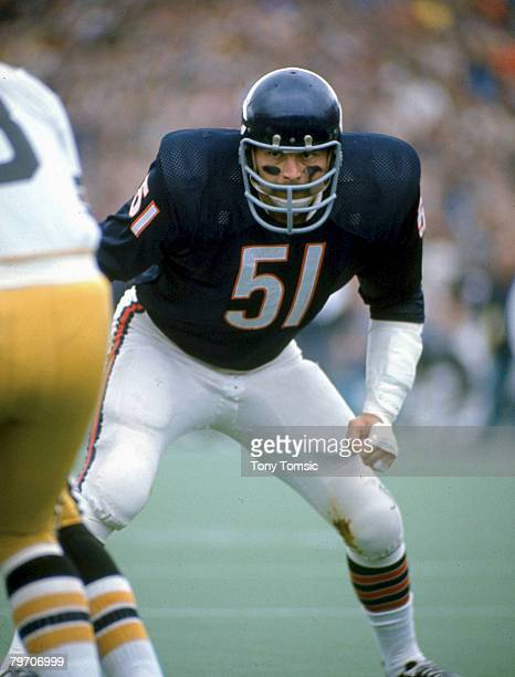 Chicago Bears Hall of Fame linebacker Dick Butkus eyes New Orleans quarterback Archie Manningl in a 3114 win over the Saints on October 10 1971...