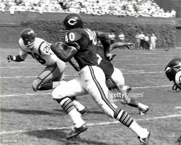Chicago Bears Hall of Fame running back Gale Sayers runs upfield in a 28 to 38 loss to the Washington Redskins on September 15 1968 at Wrigley Field...