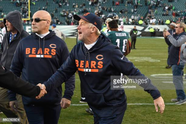 Chicago Bears head coach John Fox shakes hands during a NFL football game between the Chicago Bears and the Philadelphia Eagles on November 26 2017...