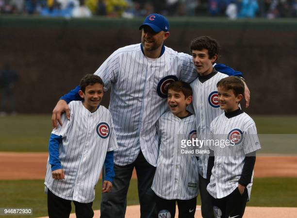 Chicago Bears head coach Matt Nagy after throwing out a ceremonial first pitch before the game between the Chicago Cubs and the Atlanta Braves on...