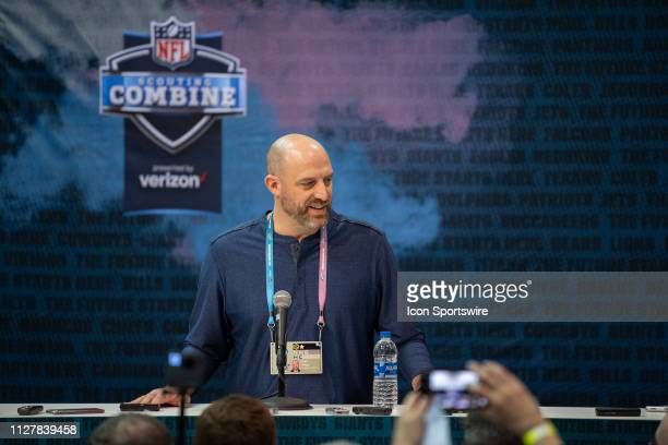 Chicago Bears head coach Matt Nagy answers questions from the media during the NFL Scouting Combine on February 27 2019 at the Indiana Convention...
