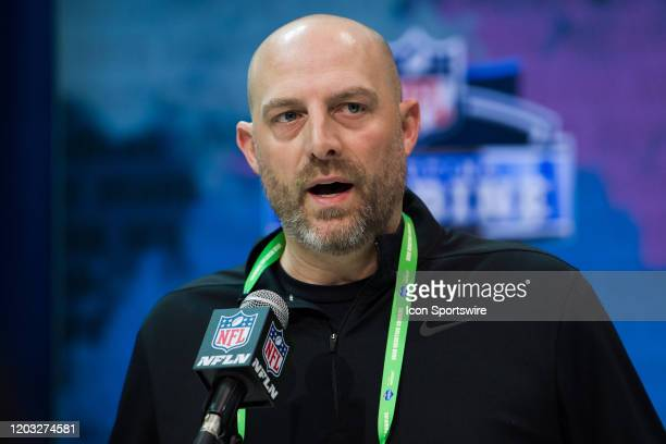 Chicago Bears head coach Matt Nagy answers questions from the media during the NFL Scouting Combine on February 25 2020 at the Indiana Convention...