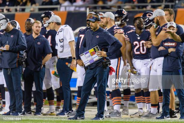 Chicago Bears head coach Matt Nagy looks on during an NFL preseason football game between the Buffalo Bills and the Chicago Bears on August 30 at...