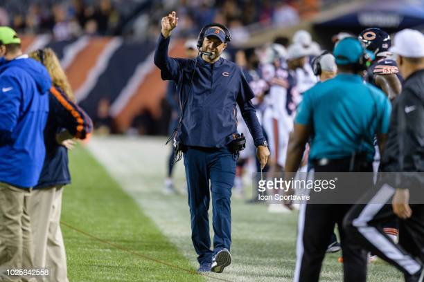 Chicago Bears head coach Matt Nagy motions to refs after throwing a challenge flag during an NFL preseason football game between the Buffalo Bills...
