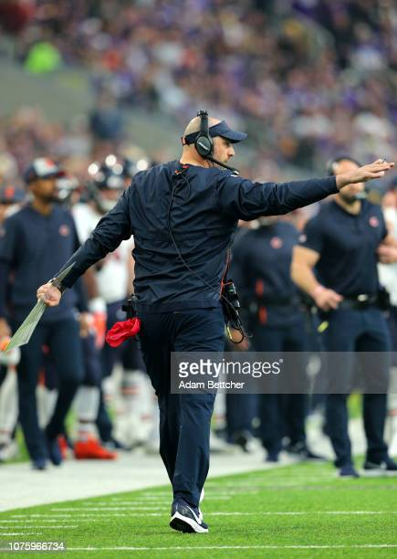 Chicago Bears head coach Matt Nagy reacts on the sideline in the first quarter of the game against the Minnesota Vikings at US Bank Stadium on...