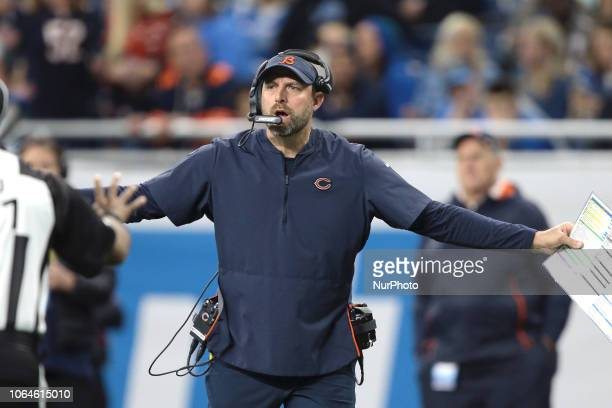 Chicago Bears head coach Matt Nagy reacts to a call by the officials during the first half of an NFL football game against the Detroit Lions in...