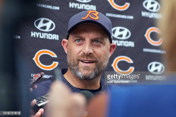 Chicago Bears head coach Matt Nagy speaks to members of the media after the Bears practice session on August 14, 2018 at Halas Hall, in Lake Forest,...