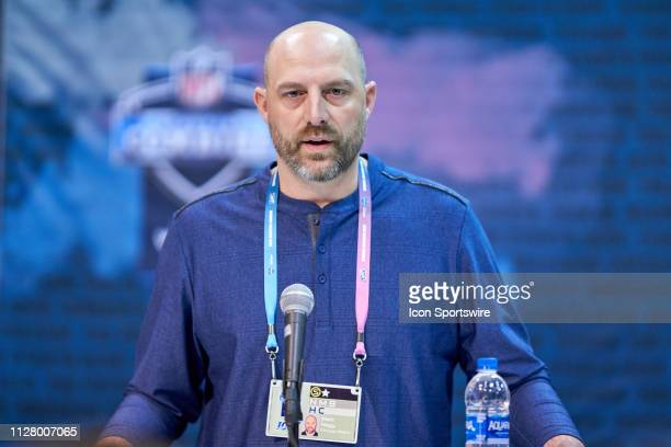 Chicago Bears head coach Matt Nagy speaks to the media during the NFL Scouting Combine on February 27 2019 at the Indiana Convention Center in...