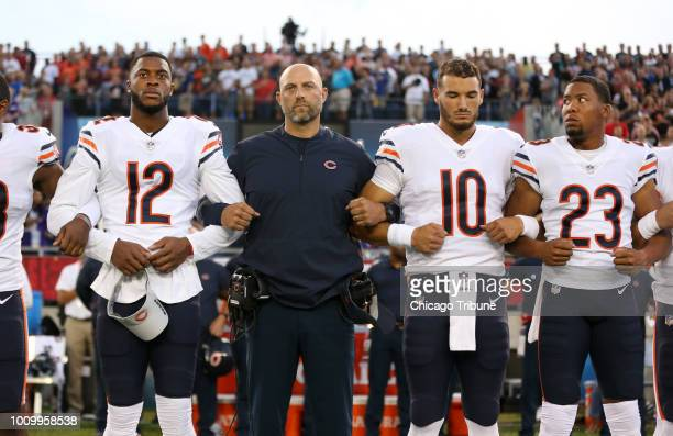 Chicago Bears head coach Matt Nagy stands with players Allen Robinson Mitch Trubisky and Kyle Fuller during the national anthem before the Hall of...