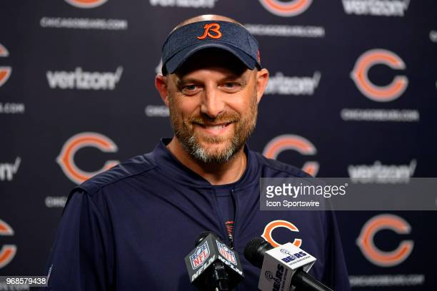 Chicago Bears head coach Matt Nagy takes questions from the media during practice at the NFL football team's workout on June 6 2018 at Halas Hall in...