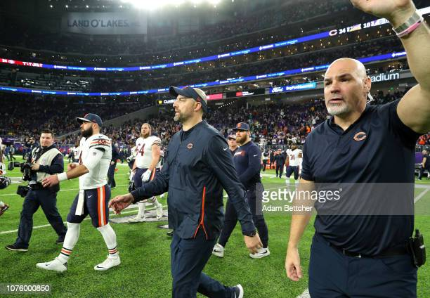 Chicago Bears head coach Matt Nagy takes the field after the game against the Minnesota Vikings at US Bank Stadium on December 30 2018 in Minneapolis...