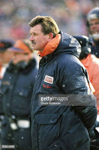 Chicago Bears Head Coach, Mike Ditka, watches his team play the Detroit Lions in a 1990 game at Soldier Field in Chicago, Illinois.