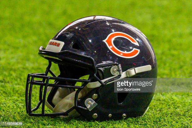 Chicago Bears helmet is seen during warm ups during the Chicago Bears Veteran Minicamp on June 12, 2019 at Halas Hall, in Lake Forest, IL.