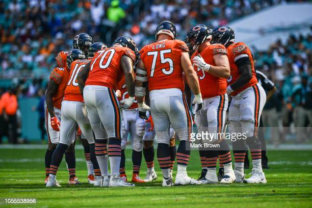 Chicago Bears in a huddle against the Miami Dolphins at Hard Rock Stadium on October 14 2018 in Miami Florida