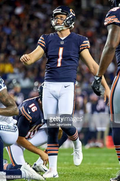 Chicago Bears kicker Cody Parkey kicks an extra point in game action during an NFL game between the Chicago Bears and the Seattle Seahawks on...