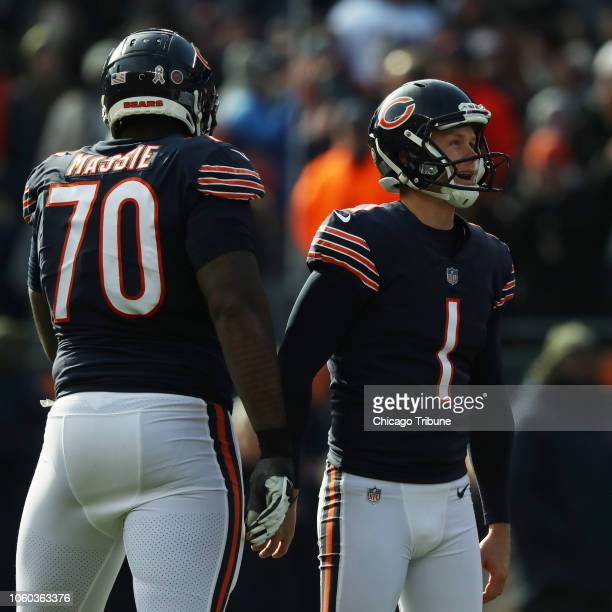 Chicago Bears kicker Cody Parkey reacts after missing his second extra point of the game in the second quarter against the Detroit Lions on Sunday...