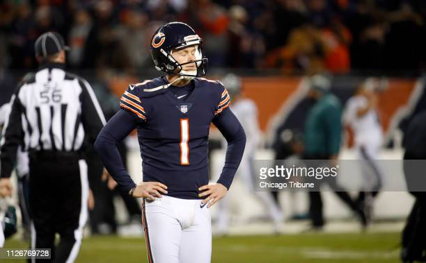 Chicago Bears kicker Cody Parkey walks off after missing a potential gamewinning field goal in the final seconds against the Philadelphia Eagles...