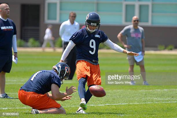 Chicago Bears kicker Robbie Gould in action during the 2014 Chicago Bears OTA practice session at Hallas Hall in Lake Forest IL