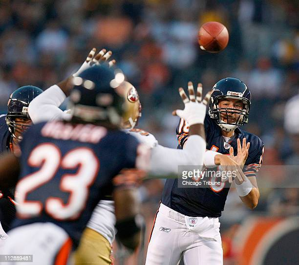 Chicago Bears' Kyle Orton passes to Devin Hester against the San Francisco 49ers during a NFL preseason game at Soldiers Field in Chicago Illinois on...