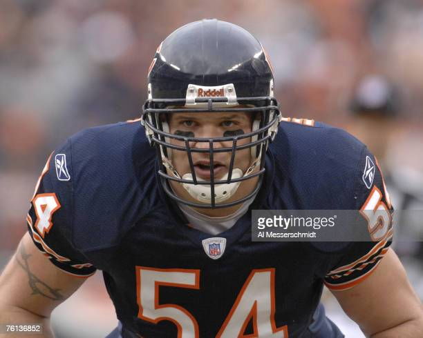 Chicago Bears linebacker Brian Urlacher line up on defense against the Tampa Bay Buccaneers on December 17 2006 at Soldier Field in Chicago Illinois