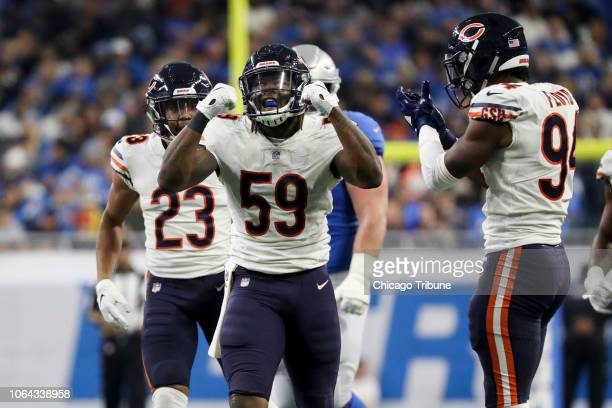 Chicago Bears linebacker Danny Trevathan celebrates after tackling Detroit Lions running back Theo Riddick during the second half at Ford Field in...