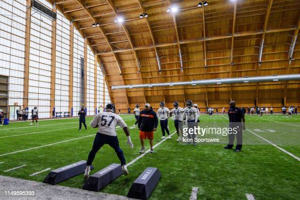Chicago Bears linebacker Kevin Pierre-Louis warms up during the Chicago Bears Veteran Minicamp on June 12, 2019 at Halas Hall, in Lake Forest, IL.