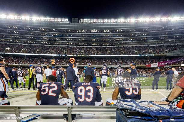 Chicago Bears linebacker Khalil Mack Chicago Bears linebacker Sam Acho and Chicago Bears defensive end Roy RobertsonHarris watch the game from the...