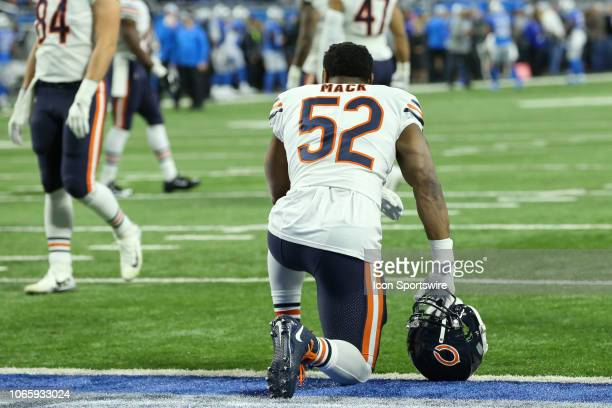 Chicago Bears linebacker Khalil Mack kneels in the end zone during warmups before the start of a regular season game between the Chicago Bears and...