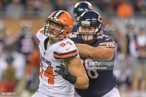 Chicago Bears linebacker Leonard Floyd rushes against Chicago Bears offensive lineman William Poehls in the 2nd quarter during an NFL preseason...