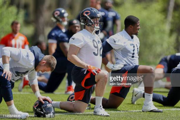 Chicago Bears linebacker Matt Betts warms up in action during the Chicago Bears organized team activities or OTA on May 22, 2019 at Halas Hall in...