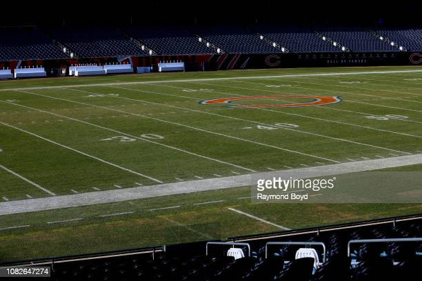 Chicago Bears logo at mid-field at Soldier Field, home of the Chicago Bears football team in Chicago, Illinois on December 11, 2018.