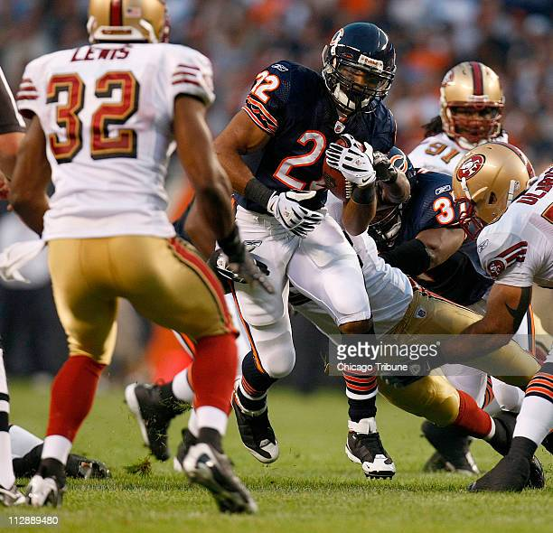 Chicago Bears' Matt Forte heads upfield against the San Francisco 49ers during a NFL preseason game at Soldiers Field in Chicago Illinois on Thursday...