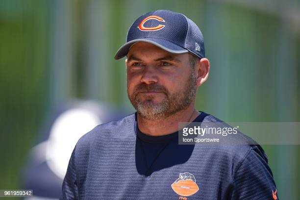 Chicago Bears offensive coordinator Mark Helfrich looks on during the Bears OTA session on May 23 2018 at Halas Hall in Lake Forest IL