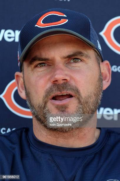 Chicago Bears offensive coordinator Mark Helfrich speaks to the media after the Bears OTA session on May 23 2018 at Halas Hall in Lake Forest IL