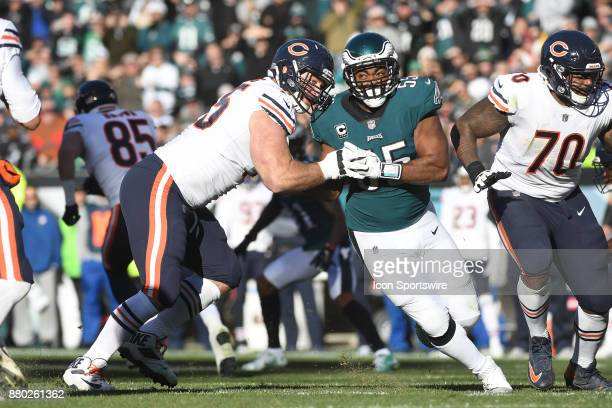 Chicago Bears offensive guard Kyle Long blocks Philadelphia Eagles defensive end Brandon Graham during a NFL football game between the Chicago Bears...