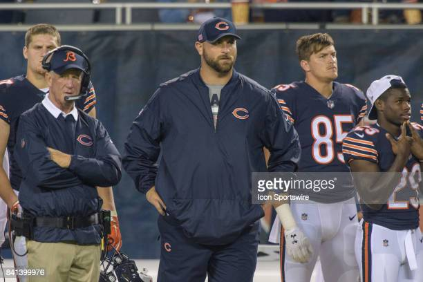 Chicago Bears offensive lineman Kyle Long stands on the sideline during an NFL preseason football game between the Cleveland Browns and the Chicago...