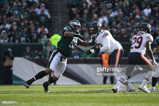 Chicago Bears offensive tackle Charles Leno and Philadelphia Eagles defensive end Derek Barnett fight for position during a NFL football game between...