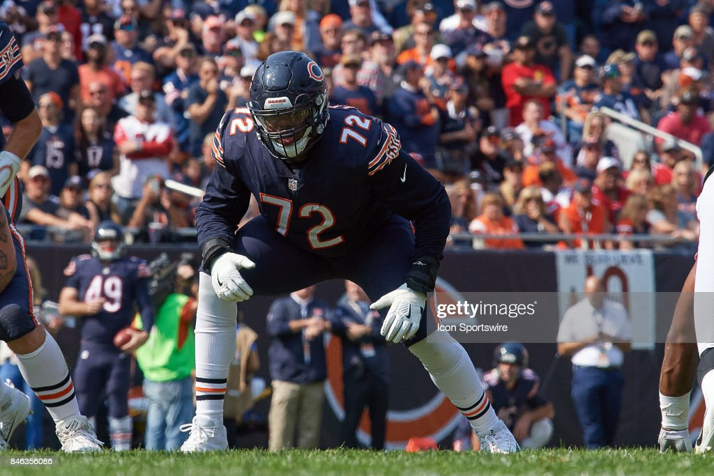 Chicago Bears offensive tackle Charles Leno (72) looks on during an NFL football game between the Atlanta Falcons and the Chicago Bears on September 10, 2017 at Soldier Field in Chicago, IL.